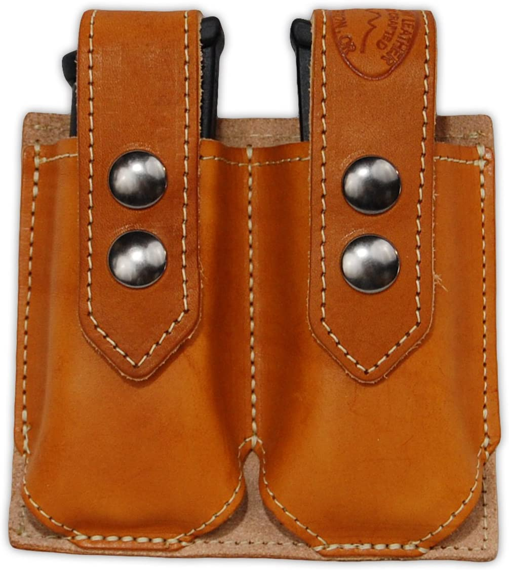 Barsony neu Saddle Tan Leather Double Magazine Pouch für Compact 9Mm 40 45