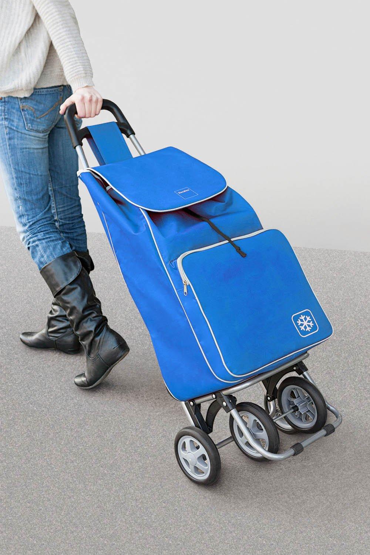Metaltex Aloe - Carro de Compra con Bolsa Isoterma y 4 Ruedas, 48 Litros, Azul: Amazon.es: Hogar