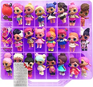 HOME4 Toys No BPA Double Sided Storage Container - Organizer Case - 48 Compartments Compatible with Small Dolls, LPS Figures, Shopkins and LOL - Toys not Included (Purple)