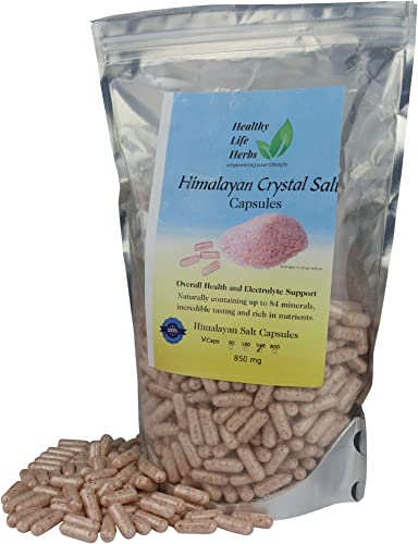 Healthy Life Herbs Pink Himalayan Salt Capsules 540 Caps 850 Milligram Blood Heart Support Energy – Extra Pure – 84 Minerals