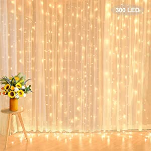 Curtain String Lights, 9.8 ft 300 LED Low Voltage Backdrop Lights Extendable Twinkle Fairy Lights for Wedding Party Home Wall Bedroom Hall Indoor Outdoor Decorations, Warm White