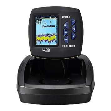 LUCKY Fisch-Finder f/ür Boot Dual-Frequenz Farbe Bildschirm Fishfinder Kajak Angeln