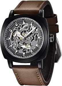 BENYAR - Reloj de Pulsera automático para Hombre   Pulsera de Cuero   Movimiento Dorado   Dial Esqueleto de 45 mm   Resistente al Agua y los arañazos   Disponible en Banda Multicolor