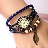 Gleader Retro Weave Wrap Around Leather Bracelet Lady Wrist Watch Quartz Watch (blue)