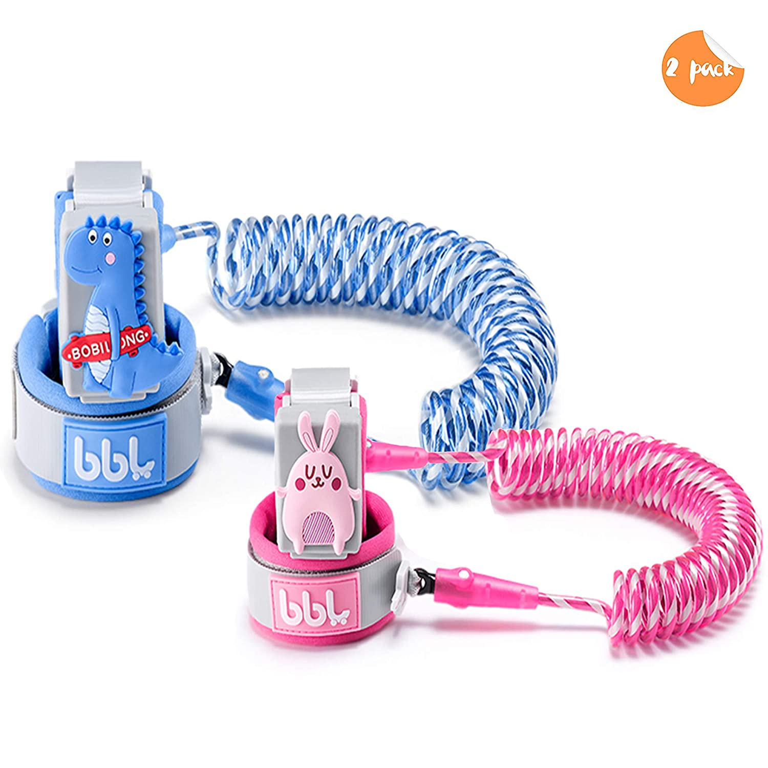 Toddler Harness Walking Leash- Child Anti Lost Wrist Link - Child Safety Harness - Upgrade with Reflective - for Boys and Girls to Disneyland, Zoo or Mall. … (Blue and Pink)