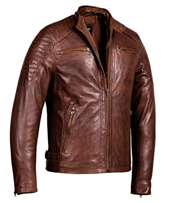 f48929d87 Cafe Racer Leather Jacket - Mens Genuine Leather Jackets at Amazon Men's  Clothing store: