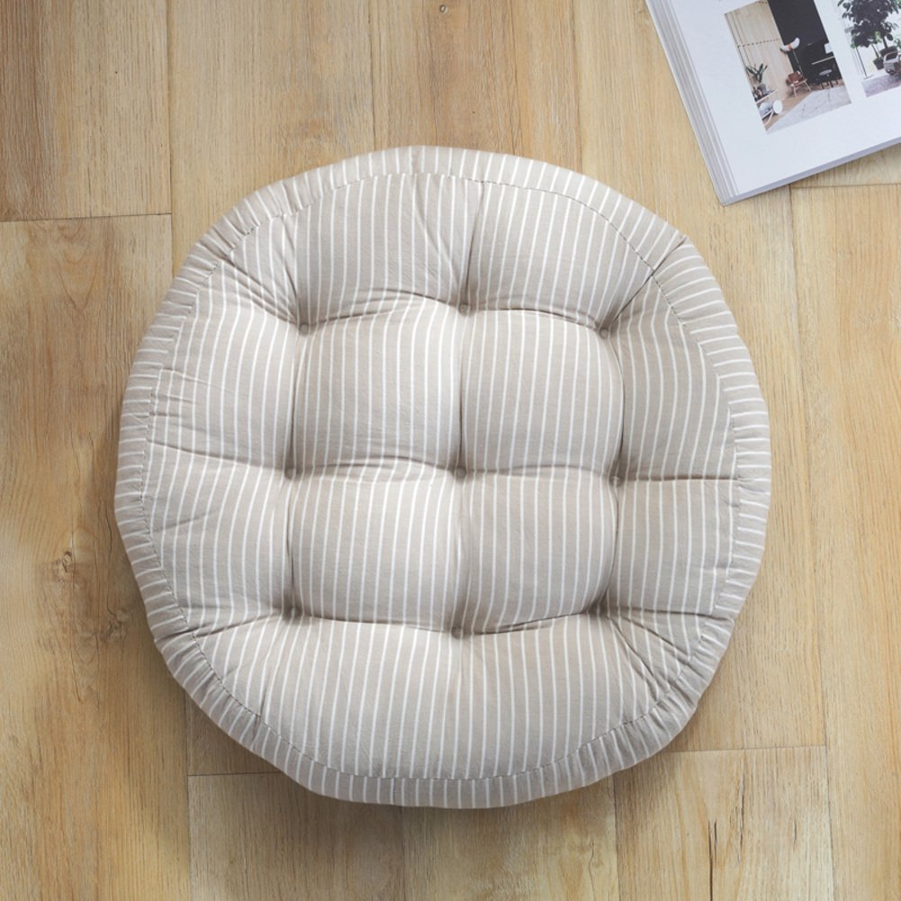 W&lx Round floor pillow cushion,Cotton linen cushion Boosted Thicken 9cm Tufted Padded Chair mat Balcony Windowsill Seat cushioning Backrest For home office-round-Light grey 43x43cm(17x17inch)