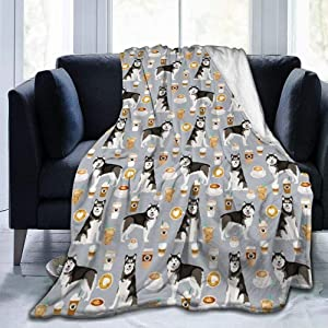 Alaskan Malamute Junk Food Donuts Pizza Fries Dog Portrait Grey Ultra Soft Fleece Blanket for Bed Living Room 60x50