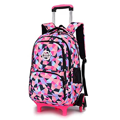 Kids Trolley Schoolbag Boys Girls Rolling Backpack Wheeled Luggage Durable Bag