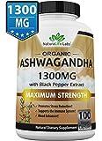Organic Ashwagandha 1300 MG per 2 capsules serving - 100 vegan capsules 100% Pure Organic Ashwagandha root extract and powder