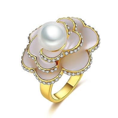 Bishilin Vergoldet Ring Fur Damen Blumen Kristall Mit Perle Weiss