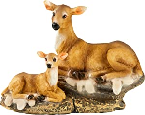 TAOBIAN Doe and Fawn Mothers Love Animal Miniature Garden Figurines Statue Accessories Desktop Indoor Outdoor Decoration Ornaments Gifts for Mom Girls Boys Adults Birthday Anniversary Yard Lawn Decor