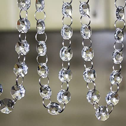 Amazon crystal clear acrylic bead garland chandelier hanging crystal clear acrylic bead garland chandelier hanging wedding decoration 33 ft aloadofball Image collections