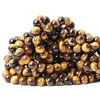 Qiwan 45PCS 8mm Yellow Tiger Eye A Grade Gemstone Loose Beads Natural Round Crystal...