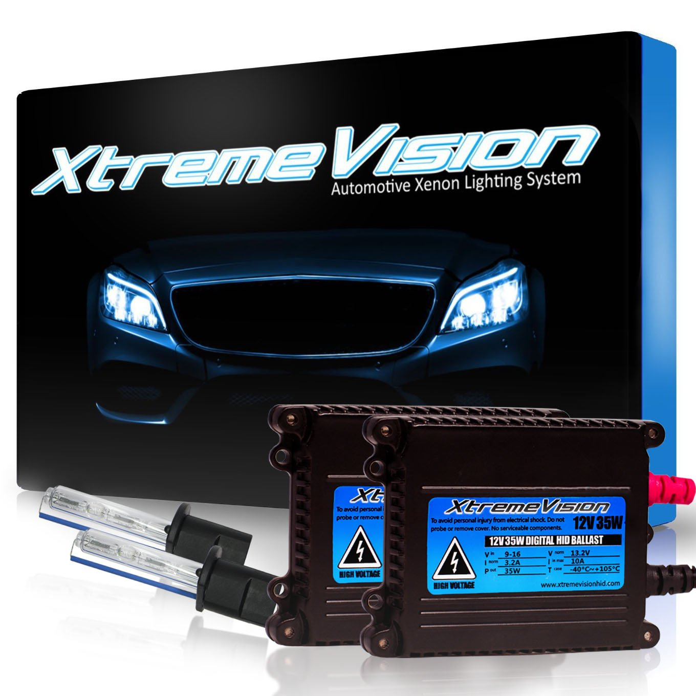 2 Year Warranty 10K Dark Blue H4 // 9003 10000K XtremeVision 35W Xenon HID Lights with Premium Slim Ballast
