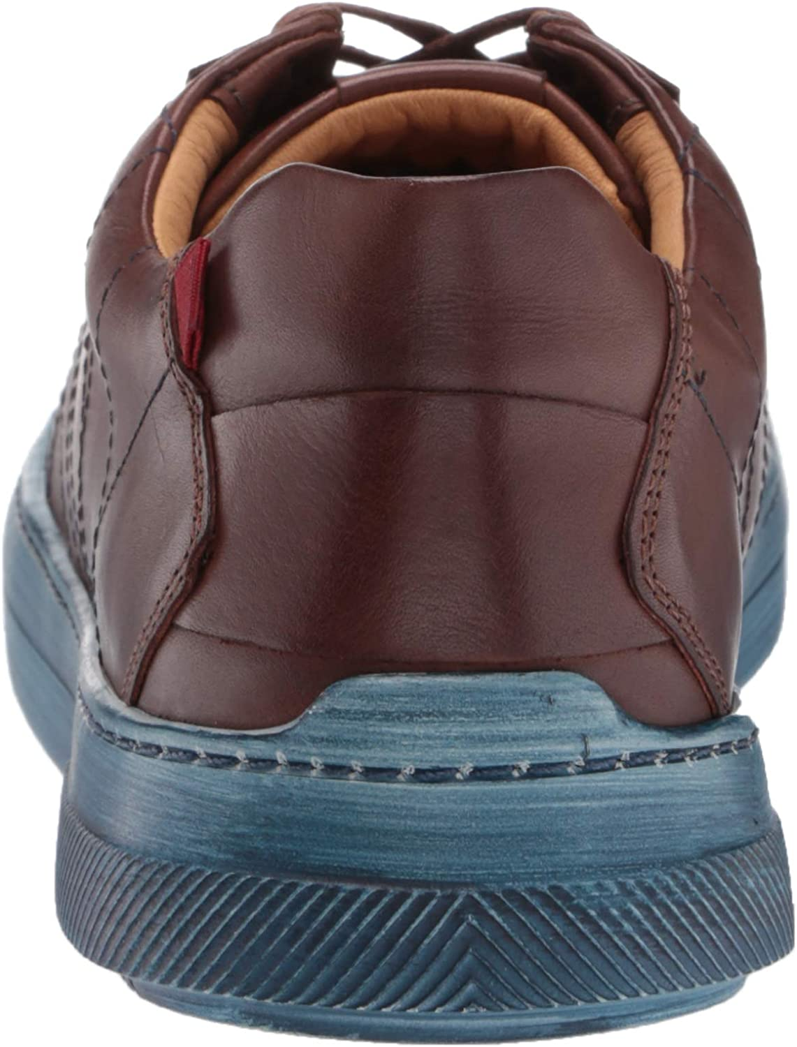 MARC JOSEPH NEW YORK Men's Leather Luxury Laceup Lightweight Technology Sneaker Cognac Nappa/Brushed Blue Sole