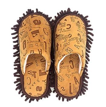 Selric® Letra del alfabeto Zapatillas Mopa Café, Zapatos Desmontables y Lavables Para Mujer, Casa zapatillas de interior estar 25cm [tamaño EU:36-39]: ...