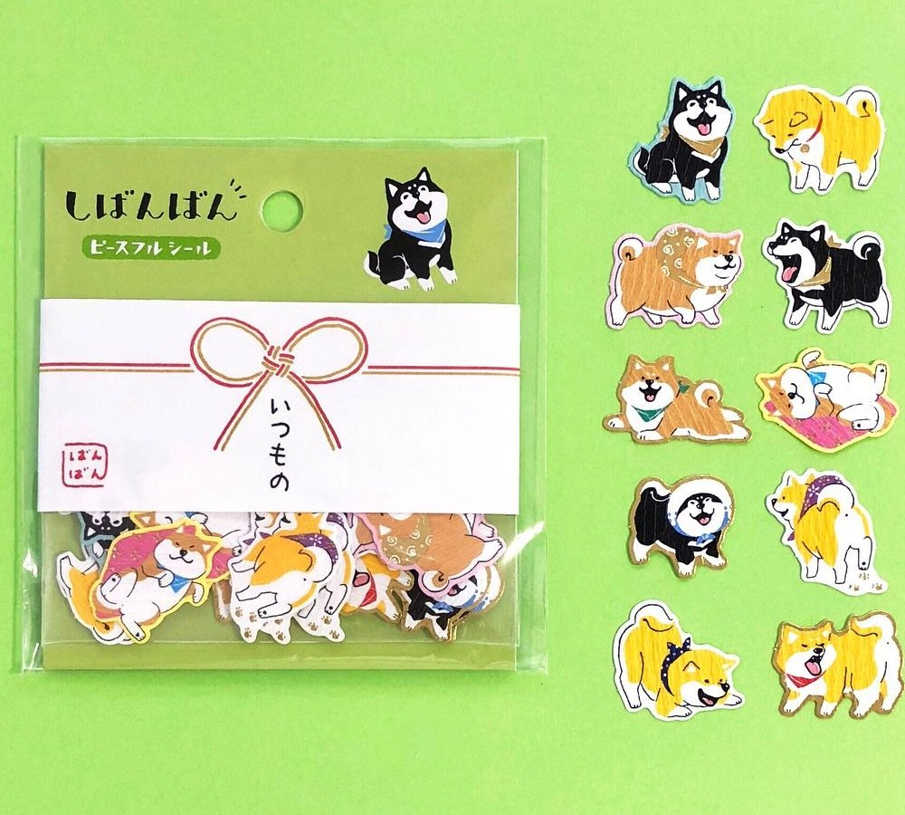 79115 As Usual Mind Wave Japanese Foil Stamping Washi Shiba Inu Stickers//Pack of 40