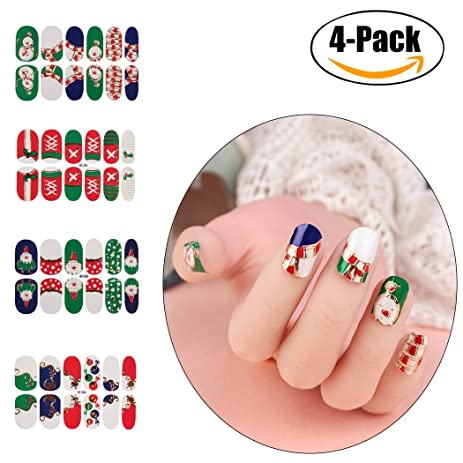 christmas nail stickersfunpa 4 pack nail decals set multicolored nail art stickers for women