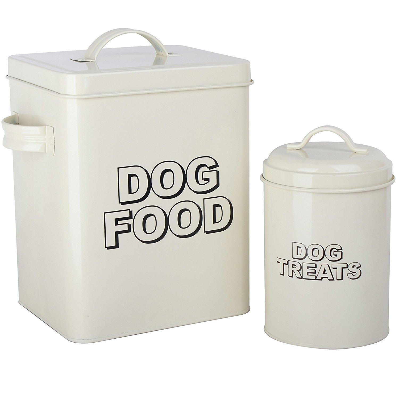 retr/ò Crazygadget/® Vintage classico colore panna cibo per cani con contenitore