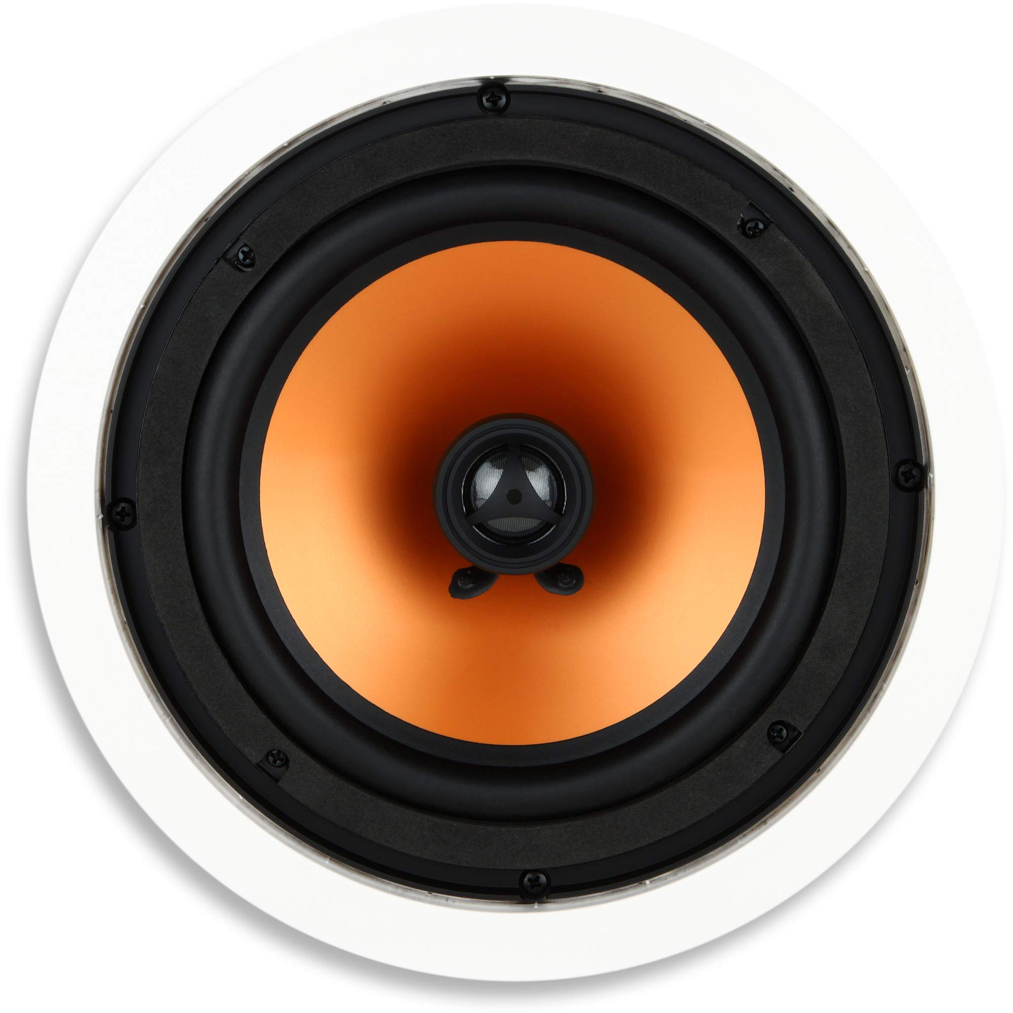 Micca M-8C 8 Inch 2-Way in-Ceiling in-Wall Speaker with Pivoting 1'' Silk Dome Tweeter (Each, White) by Micca