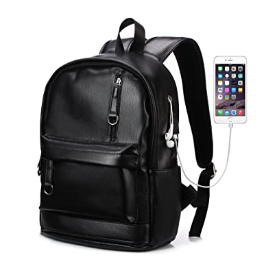 KISSUN Backpack For Women Men Trendy PU Leather School College Bookbag USB  Charging Port 13.3 inch 2a8be93baedf5