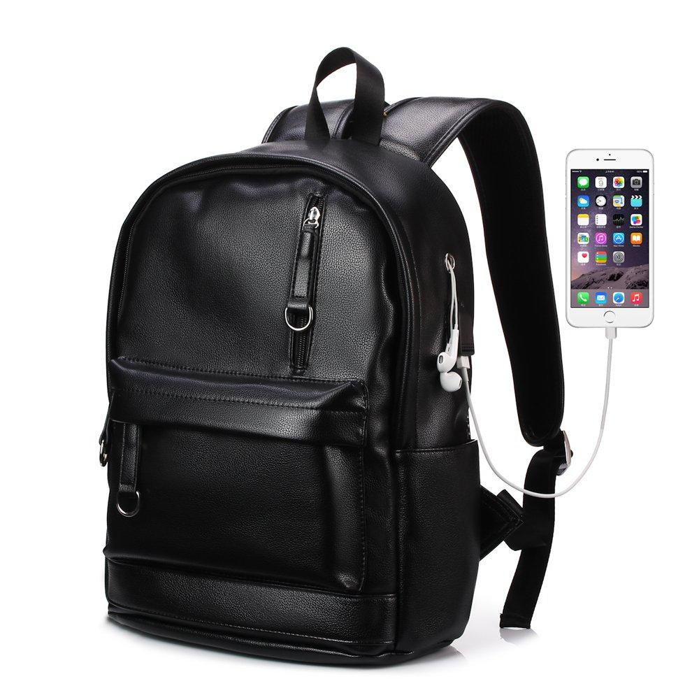 KISSUN Backpack For Women Men Trendy PU Leather School College Bookbag USB Charging Port Laptop Computer Soft Leather Backpack Women Men Travel Backpack