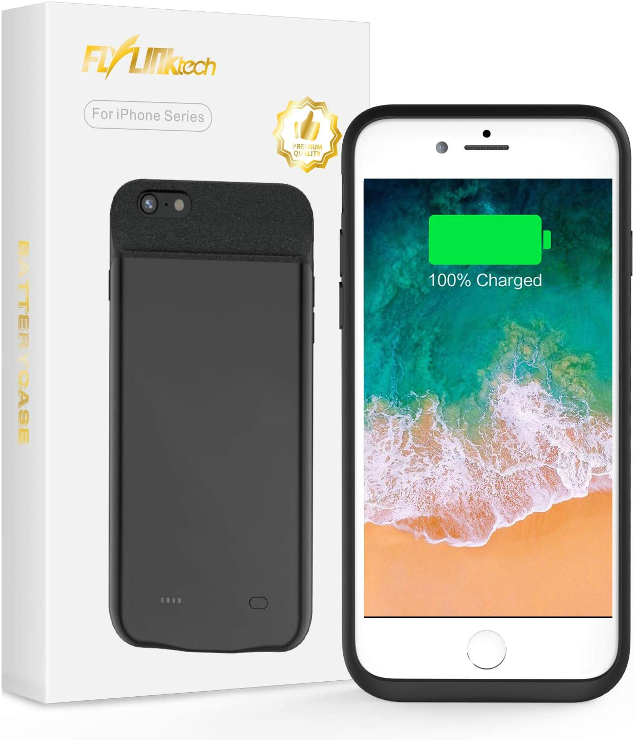 FLYLINKTECH for iPhone 6/6s/7/8 Battery Case, 6500mAh Portable Protective Charging Case Extended Rechargeable Battery Pack Charger Case (4.7 inch, Black)
