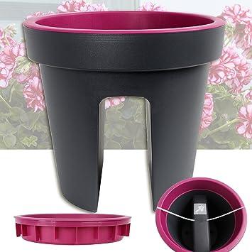 357) Balkon Blumentopf Lila-Purple Geländer Pflanztopf rund ...
