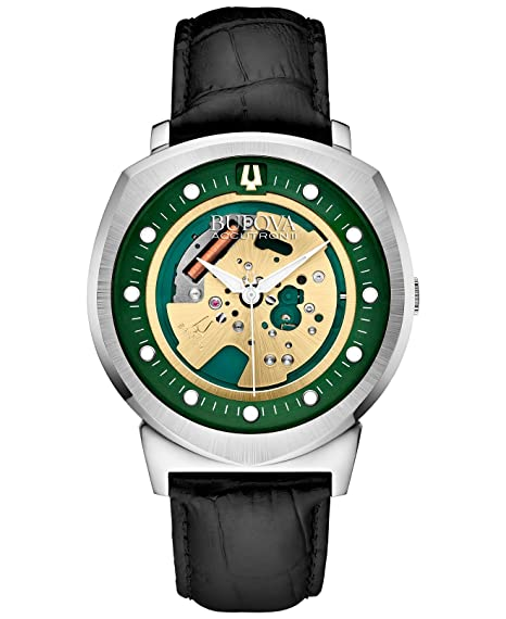 Bulova Accutron II Chaqueta UHF - Reloj analógico con Esfera Verde y Correa de Cuero Negro: Amazon.es: Relojes