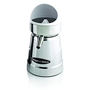 Omega C-20C Professional Citrus Juicer Features 3 Juice Cones for All Citrus Sizes 1800 Rotations Per Minute Surgical Steel Bowl and Pulp Strainer with Non-Slip Feet, Silver