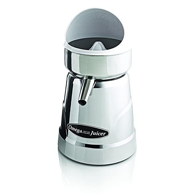 Omega Juicers C-20C Professional Citrus Juicer Features 3 Juice Cones for All Citrus Sizes 1800 Rotations Per Minute Surgical Steel Bowl and Pulp Strainer with Non-Slip Feet, Silver