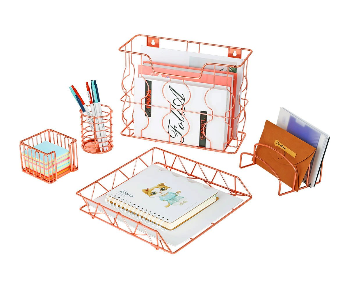 PAG Rose Gold Office Supplies 5 in 1 Metal Desk Organizer Set - Hanging File Organizer, File Tray, Letter Sorter, Pencil Holder and Stick Note Holder