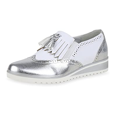 04508ea7d7 SCARPE VITA Damen Halbschuhe Brogues Keilabsatz Schuhe Quasten Fransen  Wedges 166873 Silber 36