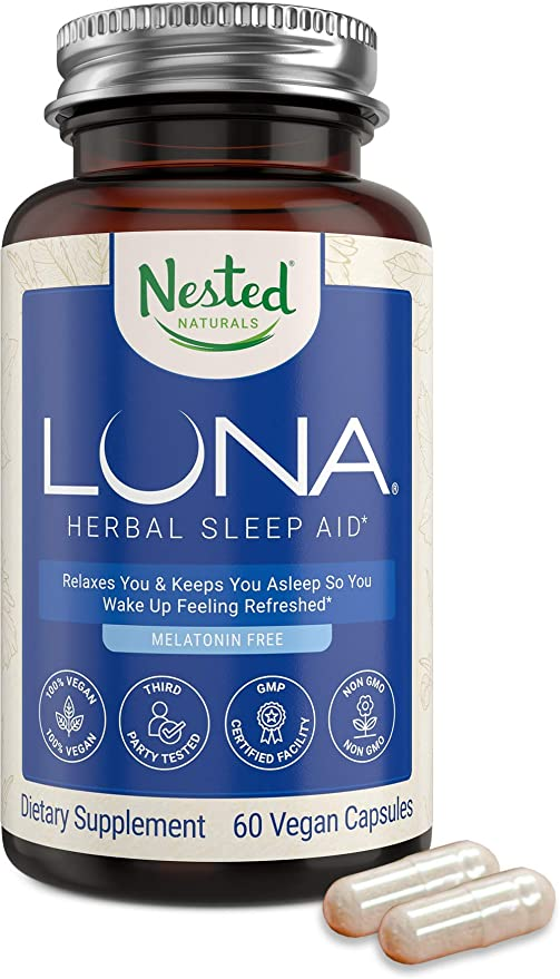 Luna Melatonin-Free Natural Sleep Aid for Adults   Herbal Nighttime Sleeping Capsule for Easy Calm Deep Sleep   Valerian Root with Chamomile, Lemon Balm   Non-GMO, Gluten-Free