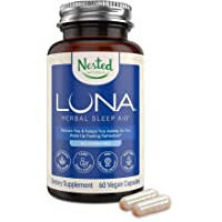 Luna Melatonin-Free Sleep Aid Supplement | Natural Sleeping Pill for Adults | Herbal Nighttime Capsule to Help You Fall Asleep | Valerian Root with Chamomile, Lemon Balm | Non-GMO, Gluten-Free