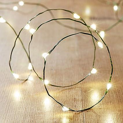 Lights4fun Guirnalda de 20 Micro Leds de Luz Perlada y C/álida de Pilas