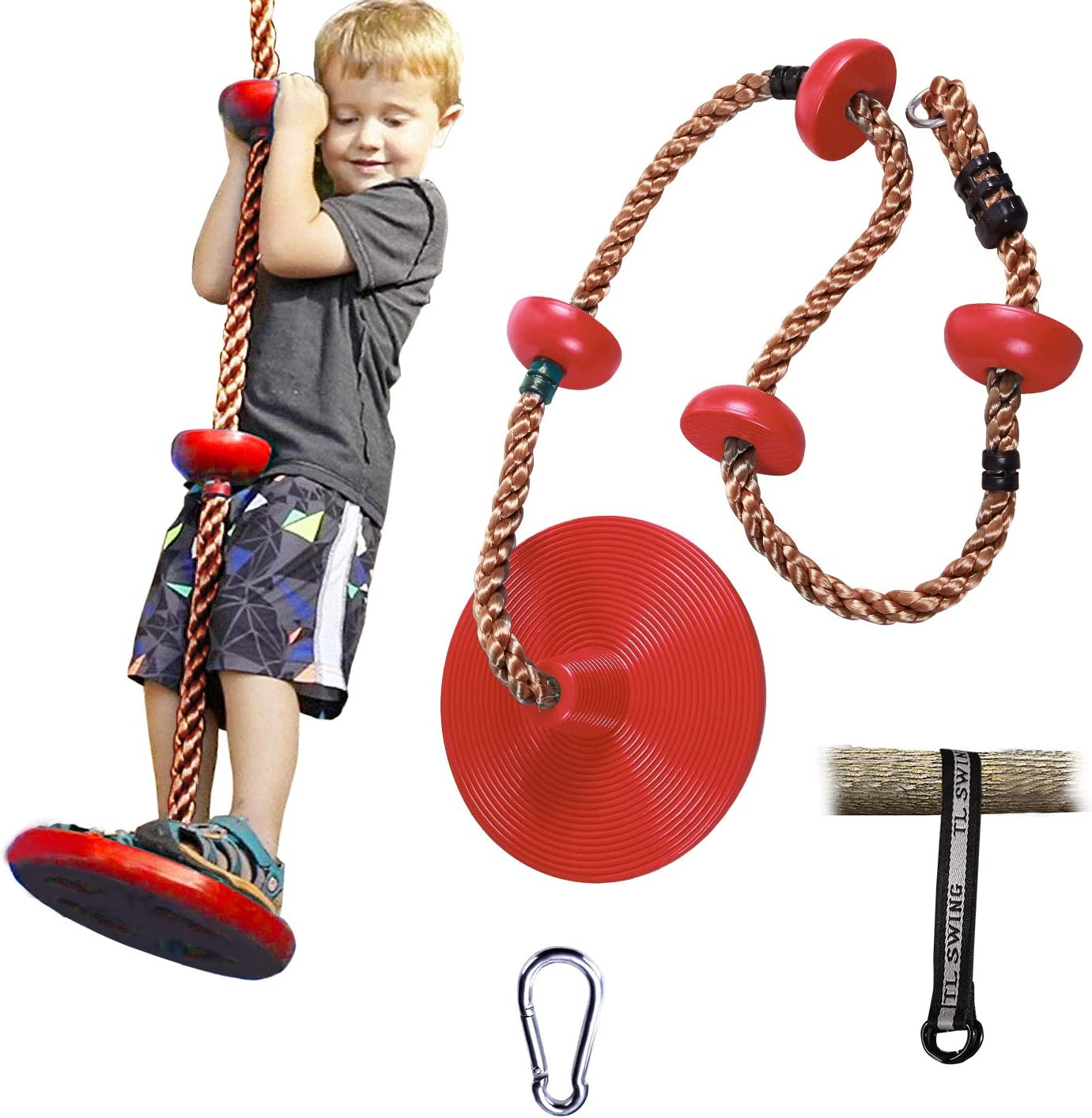 RedSwing Tree Climbing Rope with Platform and Disc Swing Seat, Children Tree Disc Swing Safety for Outside Inside, Bonus Hanging Strap & Carabiner, Red
