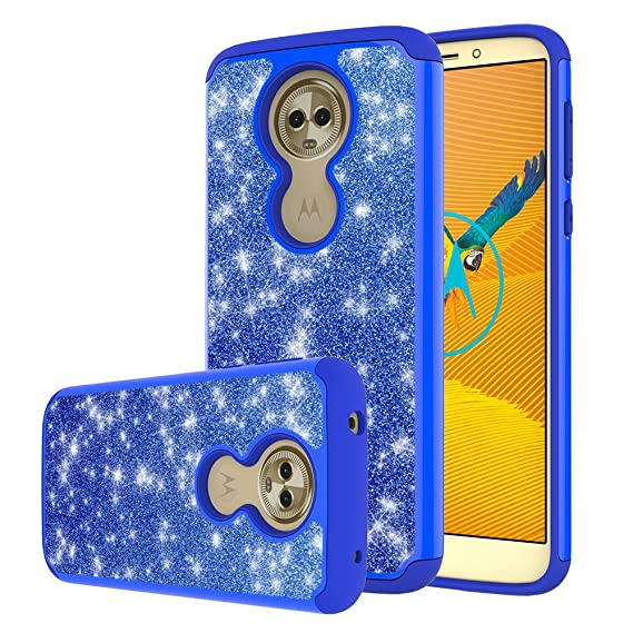 newest 2e2ff 4d16e Moto E5 Plus Case, Moto E5 Supra Case,Yiakeng Waterproof Glitter Hard Slim  for Girls Women Wallet Phone Cases Cover for Motorola Moto E Plus (5th ...
