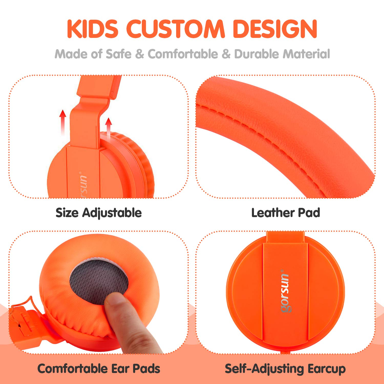 ONTA gorsun Foldable On Ear Audio Adjustable Lightweight Headphone for chlidren Cellphones Smartphones iPhone Laptop Computer Mp3/4 Earphones (Orange) by ONTA (Image #4)
