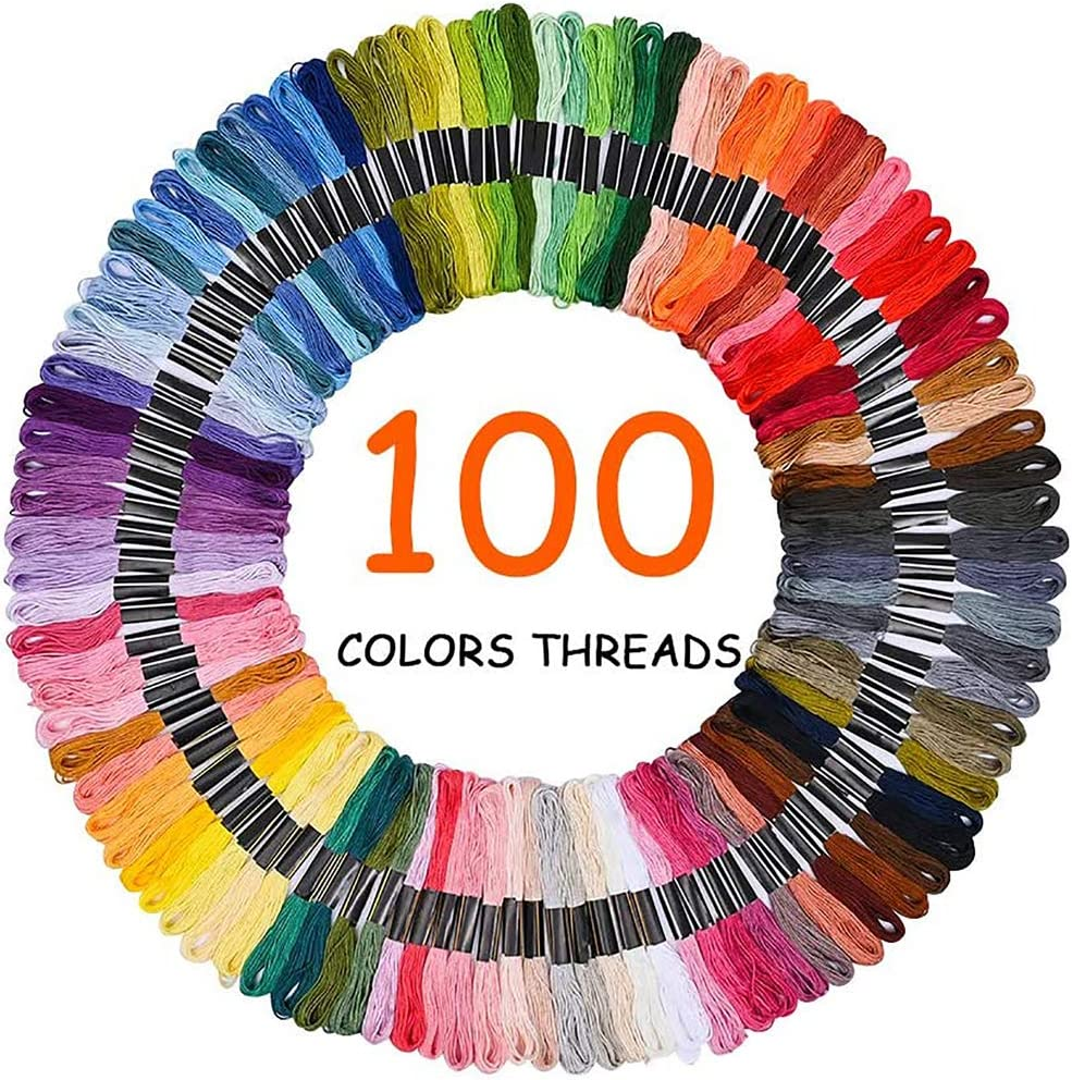 30 Sewing Pins 164PCS 100 Color Threads Works for Cross Stitching 5 Piece Bamboo Embroidery Hoops Needle Point; Ideal Starter kit for Beginners Hand Cross Stitch Kit 3 Aida Cloths Embroidery