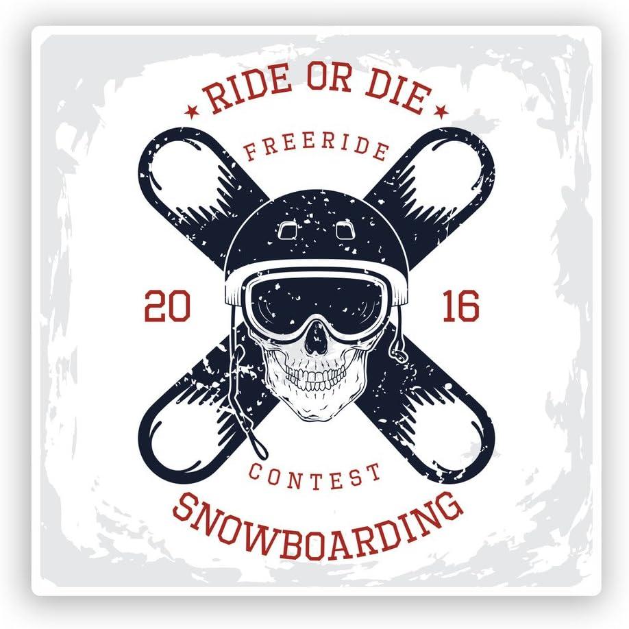 2 x 10cm//100mm Snowboard Ride or Die Adesivi vinilici Extreme montagne di viaggio #7610
