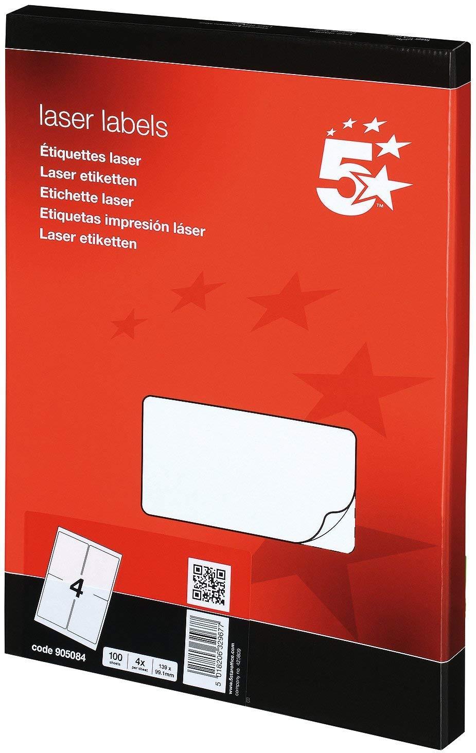 5 Star Addressing Labels Laser 4 per Sheet 139x99.1mm White [400 Labels] Herma GmbH 905084