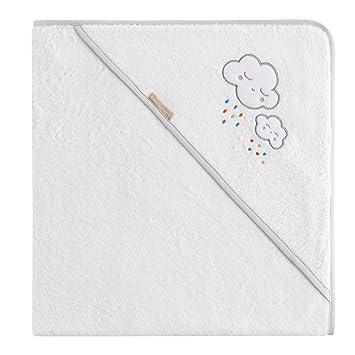 Burrito Blanco Capa de Baño para Bebé/Toalla de Baño 207 para Bebé con Capucha de Rizo Blanco con Bordado de Nubes y Lluvia de Colorines, Gris: Amazon.es: ...