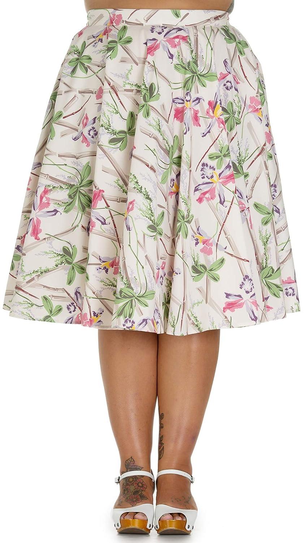 Hell Bunny Bamboo - Falda para mujer, diseño de flores Creme ...