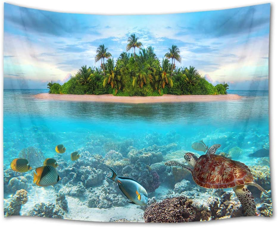 HVEST Sea Turtle Tapestry Fish and Coral Reef Under The Ocean Wall Hanging Palm Trees on Tropical Island Tapestries for Bedroom Living Room Dorm Decor,92.5Wx70.9H inches