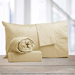 """Color Sense 800 Thread Count Cotton Rich 4 Piece Bed Sheet Set, Luxury Bedding Queen Sheets Sateen Weave, Wrinkle Resistant, Ultra Soft, Quick Dry,Patented Fitted Sheet Fits Upto 18"""" Deep Pocket,Cream"""