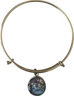 product image for Mobile Bay Adjustable Bangle Bracelet - Pewter Toned with ¾ Inch Charm Map of The Alabama Gulf Coast Area