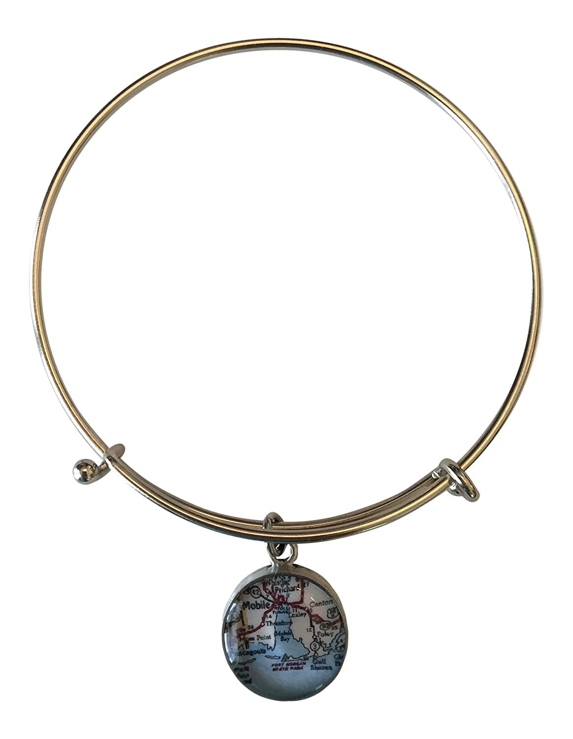Mobile Bay Adjustable Bangle Bracelet Pewter Toned with /¾ Inch Charm Map of the Alabama Gulf Coast Area