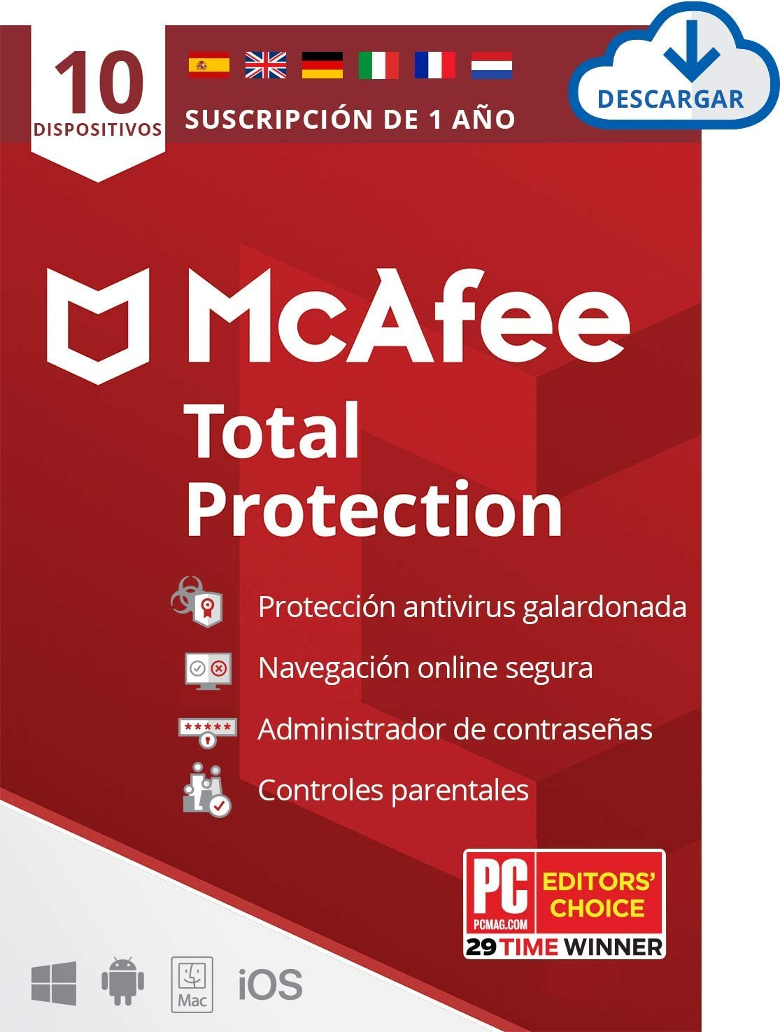 McAfee Total Protection 2020, 10 Dispositivos, 1 Año, Software Antivirus, Seguridad de Internet, Móvil, Control Parental, Compatible con PC/Mac/Android/iOS, Edición Europea, Descarga